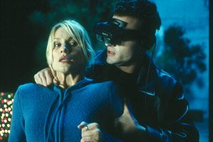 The killer wears these webcam goggles / oculus rift nearly the entire movie